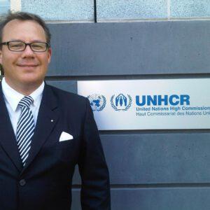 Dr. Christoph von Gamm, vor dem UNHCR in Genf, August 2011
